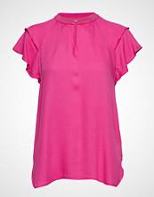 Scotch & Soda Rayon Top With Sporty Rib And Ruffle Sleeves Bluse Kortermet Rosa SCOTCH & SODA