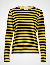 Ganni Striped Cotton Jersey T-shirts & Tops Long-sleeved Gul GANNI
