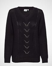 Saint Tropez Pointelle Knit Sweater Strikket Genser Svart SAINT TROPEZ
