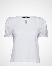 Karl Lagerfeld Volume Sleeve Crop Top T-shirts & Tops Short-sleeved Hvit KARL LAGERFELD