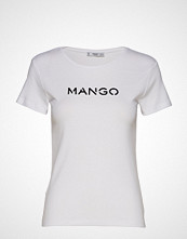 Mango Logo Cotton T-Shirt T-shirts & Tops Short-sleeved Hvit MANGO
