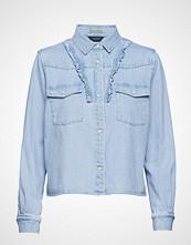 Scotch & Soda Bleached Out Clean Denim Western Shirt With Frill Details Langermet Skjorte Blå SCOTCH & SODA