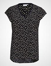 Saint Tropez Woven Top S/S W. Rib T-shirts & Tops Short-sleeved Svart SAINT TROPEZ