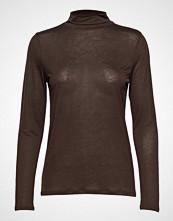 Filippa K Tencel Polo Neck Top T-shirts & Tops Long-sleeved Brun FILIPPA K