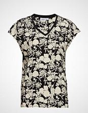 Saint Tropez Woven Top S/S W. Rib T-shirts & Tops Short-sleeved Multi/mønstret SAINT TROPEZ