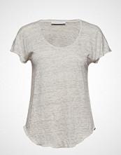 Cathrine Hammel Linen Plunging Tee-Shirt T-shirts & Tops Short-sleeved Grå CATHRINE HAMMEL
