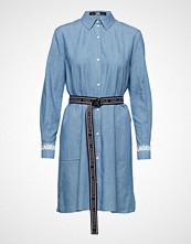 Karl Lagerfeld Shirt Dress W/Logo Belt Knelang Kjole Blå KARL LAGERFELD