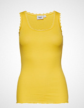 Saint Tropez Rib Tank Top With Lace - Basic T-shirts & Tops Sleeveless Gul SAINT TROPEZ