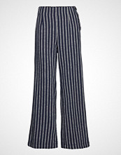 GAP High Rise Linen Button Fl Wide Leg Vide Bukser Blå GAP