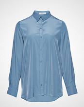 Violeta by Mango Satin Finish Flowy Shirt Langermet Skjorte Blå VIOLETA BY MANGO