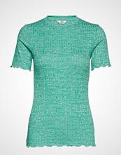 Mads Nørgaard 5x5 Mouline Rib Tuba S Frill T-shirts & Tops Short-sleeved Grønn MADS NØRGAARD