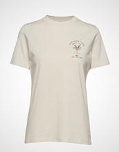 Mango Cotton Printed T-Shirt T-shirts & Tops Short-sleeved Creme MANGO