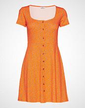 Envii Enwimbley Ss Dress Aop 5890 Knelang Kjole Oransje ENVII
