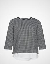 Violeta by Mango Gingham Check Contrast Sweatshirt T-shirts & Tops Long-sleeved Hvit VIOLETA BY MANGO