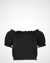 Gina Tricot Bianca Frill Top T-shirts & Tops Short-sleeved Svart GINA TRICOT