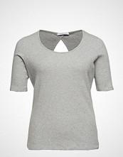 Violeta by Mango Ribbed Cotton T-Shirt T-shirts & Tops Short-sleeved Grå VIOLETA BY MANGO