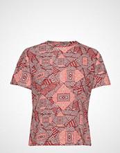 Mango Printed Cotton-Blend T-Shirt T-shirts & Tops Short-sleeved Rød MANGO