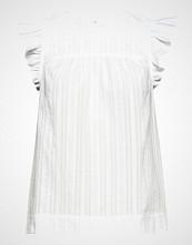 Mayla Stockholm Zoe Embroidery Top Bluse Kortermet Blå MAYLA STOCKHOLM