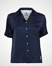 Calvin Klein Satin Blocked Diner Shirt Bluse Kortermet Blå CALVIN KLEIN JEANS