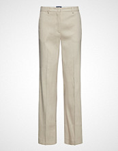 Gant O2. Stretch Linen Wide Pant Bukser Med Rette Ben Creme GANT