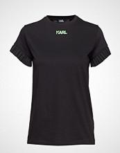 Karl Lagerfeld Neon Lights Frill Sleeves Tee T-shirts & Tops Short-sleeved Svart KARL LAGERFELD