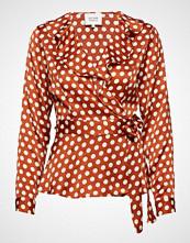 Second Female Spotty Wrap Blouse Bluse Langermet Oransje SECOND FEMALE