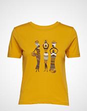 Mango Printed Cotton-Blend T-Shirt T-shirts & Tops Short-sleeved Gul MANGO