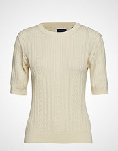 Gant D1. Pp Pointelle Cable Crew T-shirts & Tops Short-sleeved Creme GANT