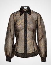 Ganni Printed Organza Shirt Bluse Langermet Brun GANNI