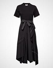 3.1 Phillip Lim Ss Tshirt Combo Poplin Dress Knelang Kjole Svart 3.1 PHILLIP LIM