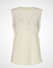 Rabens Saloner Love Print Tank Top T-shirts & Tops Sleeveless Creme RABENS SAL R