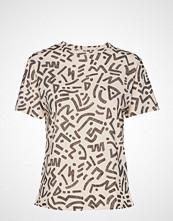 Mango Printed Cotton-Blend T-Shirt T-shirts & Tops Short-sleeved Creme MANGO