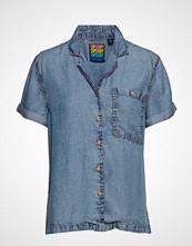 Superdry Riva Shirt Bluse Kortermet Blå SUPERDRY