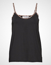 Coster Copenhagen Strap Top W. Leopard Tape T-shirts & Tops Sleeveless Svart COSTER COPENHAGEN