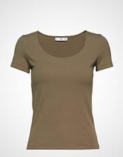 Mango Ribbed Cotton T-Shirt T-shirts & Tops Short-sleeved Grønn Mango