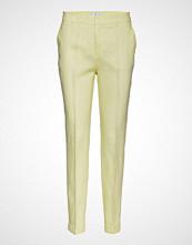 Mango Straight Linen-Blend Trousers Bukser Med Rette Ben Gul MANGO