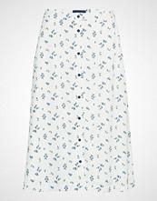 Gant D1. Button Down A-Line Skirt Knelangt Skjørt Hvit GANT