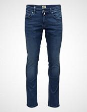 Morris Steve Satin Jeans Zip Slim Jeans Blå MORRIS