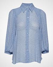 Ganni Printed Georgette Shirt Bluse Langermet Blå GANNI