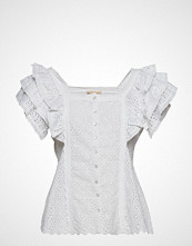 by Ti Mo Broderie Anglaise Blouse Bluse Kortermet Hvit BY TI MO