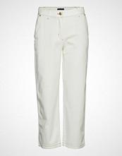 Gant D1. Ecru Cropped Slim Slouch Jeans Bukser Med Rette Ben Hvit GANT