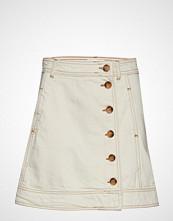 Ganni Heavy Twill Skirt Kort Skjørt Creme GANNI