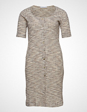 Violeta by Mango Ribbed Buttonned Dress Strikket Kjole Beige VIOLETA BY MANGO