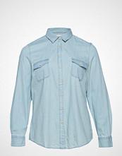 Violeta by Mango Chest-Pocket Denim Shirt Langermet Skjorte Blå VIOLETA BY MANGO