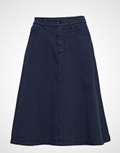 Gant O2. A-Line Texture Skirt Knelangt Skjørt Blå GANT