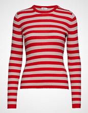 Filippa K Striped R-Neck Strikket Genser Rød FILIPPA K