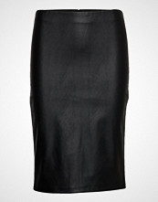 Saint Tropez Faux Leather Skirt Knelangt Skjørt Svart SAINT TROPEZ
