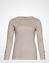 Violeta by Mango Ribbed Squared Neckline T-Shirt T-shirts & Tops Long-sleeved Beige VIOLETA BY MANGO