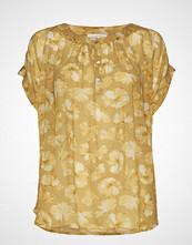 Rabens Saloner Flower Print Top Bluse Kortermet Gul RABENS SAL R