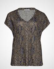 Violeta by Mango Snake Linen T-Shirt T-shirts & Tops Short-sleeved Brun VIOLETA BY MANGO